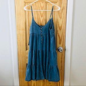 Aqua Denim Tiered Dress